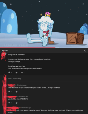 Ladies and gentlemen,i present to you,youtube comment section: @ARMAND CMAN  Replies  I only look at Snowette  You are cute like Peach, snow that I love and your barefoot...  I love you Senpai...  I only hug and carry her  This is the best Christmas present waifu ever!!  16  Add a public reply...  58 minutes ago  And she melts as you take her into your heated home..merry Christmas  55 minutes ago  yo what the fuck IT'S SNOW  andom Ivesapple  44 minutes ago  Wann Lill e A-Are you gonna marry the snow? It's snow. It's literal water just cold. Why do you want to date  water?  ... Ladies and gentlemen,i present to you,youtube comment section