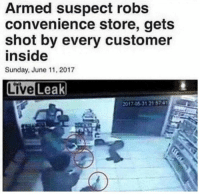 Man visits american supermarket (2017): Armed suspect robs  convenience store, gets  shot by every customer  inside  Sunday, June 11, 2017  2017.05-31 21 574 Man visits american supermarket (2017)