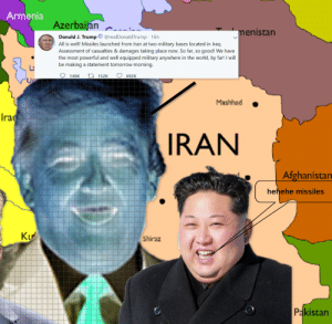 ww3 be like: Armenia  Azerbaijan  menistan  Donald J. Trump O @realDonaldTrump 16h  All is well! Missiles launched from Iran at two military bases located in Iraq.  Assessment of casualties & damages taking place now. So far, so good! We have  the most powerful and well equipped military anywhere in the world, by far! I will  be making a statement tomorrow morning.  140K 17 152K  692K  Mashhad  Ira  IRAN  Afghanistan  Wwww....i..  hehehe missiles  Ku  Shiraz  Pakistan  Bi...... ww3 be like