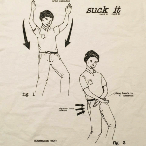 Formation, Vigorous, and Arms: arms extended  suck it  fig. 1  place hands in  , formation  vigorous thrust  forward  Cillustration only)  fig. 2
