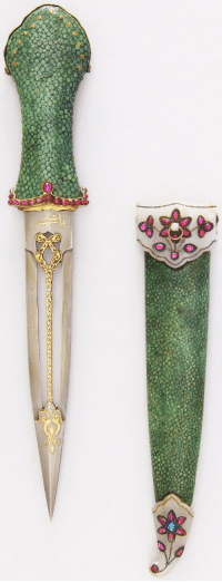 Tumblr, Blog, and India: armthearmour:  A lovely Dagger made with dyed green sharkskin, silver, gold, Jade, rubies, emerald, and Sapphire, India, ca. 18th century, housed at the Metropolitan Museum of Art.