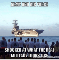 Memes, Army, and Air Force: ARMY AND AIR FORCE  SHOCKED AT WHAT THE REAL  MILITAR 100KSLKEra.com  峨Au