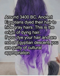 Descently: Around 3400 BC, Ancient  Egyptians dyed their hair to  hide gray hairs. This is the  origin of dying hair  If you dye your hair and are  not of  Egyptian descent, you  are guilty of  cultural  appropriation