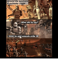 Damn that first one is actually funny as: Around the survivors  A perimeter create  What did he say?  I think he said execute order 66 Damn that first one is actually funny as
