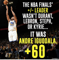 Andre Iguodala knows how to show up in The Finals.: ARR  THE NBA FINALS'  LEADER  WASN'T DURANT  LEBRON, STEPH,  OR KYRIE  IT WAS  ANDRE IGUODALA  acBs Sports Andre Iguodala knows how to show up in The Finals.