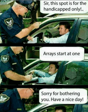 Arrays start at one: Arrays start at one
