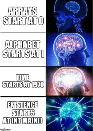 Dont let your memes be dreams: ARRAYS  STARTATO  ALPHABET  STARTSATO  TIME  STARTSAT1970  EXISTENCE  STARTS  ATINT MAINO Dont let your memes be dreams
