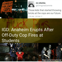 """For those who wanted an update on the police terrorism in Anaheim. LINK IN BIO - The city of Anaheim in Southern California erupted this evening after an off-duty police officer detained a 13 year old male, dragging him by the collar across a yard, and attempted to pull him over hedges in front of the police officer's home before pulling out a gun and firing it into a crowd of young people, luckily injuring no one. Soon after the shooting happened, a crowd gathered outside of the officer's home, which was vandalized with """"FUCK PIGS"""" in spray paint, as youth pushed back against """"organizers"""" which tried to keep the crowd passive even though they had just witnessed their friends and family members almost being killed for the crime of walking across a yard. The crowd then took to the streets while riot police were stationed around the home in order to protect the officer who was inside. The shooting illustrates the extreme nature of how much the government protects at all costs police who carry out horrific acts of violence and terror on a daily basis. How many times have we heard the police excuse the murder or shooting of someone, by claiming that they were afraid of someone with a 'gun in their waistband,' which turns out to be in fact total bullshit. In this case, the officer actually had a gun in his waistband and by pulling it out and firing it, he endangered a whole group of young people. As is standard, after the shooting the officer was placed on administrative paid leave while other police investigate the shooting. Sadly, two young people at the scene of the incident were arrested by the police, which illustrates how this government protects a police officer that tries to kill children, and arrests those children who were almost hit by police bullets. The fight by the youth of Anaheim is everyone's fight. Against the police, the system of power and exploitation they protect, and also against the organizations which seek to squash, control, and hinder the abili"""