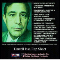 Meme, Memes, and Rap: ARRESTED FOR AUTO THEFT  ACCUSED OF INTIMIDATION  WITH A GUN  CHARGED WITH CARRYING A  CONCEALED WEAPON  TWICE ARRESTED ON  WEAPONS CHARGES  CONVICTED OF POSSESSION  OF UNREGISTERED GUN  INVESTIGATED FOR ARSON  CHARGED WITH REPEATEDLY  USING HIS PUBLIC OFFICE FOR  PERSONAL FINANCIAL GAIN  CHARGED WITH SEATING HOUSE  OVERSIGHT AND GOVERNMENT  REFORM COMMITTEE WITH  MEMBERS HAVING CLOSE  CONNECTIONS TO INDUSTRIES  THAT COULD BENEFIT FROM HIS  INVESTIGATIONS  Source: mediamatters.org/research/201101/111report media ignore-rep alleged criminal174997  Darrell Issa Rap Sheet  Original memes by Gorilla Pig.  Follow The Pig on Facebook.  GO  a Pig VEo is a trademark of Gorla Psg All rights reserved A bit shady if you ask me.   Via Gorilla Pig