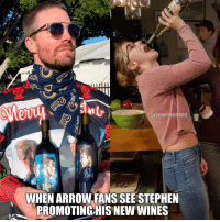 Drinking, Memes, and Saw: arrowmemes  il  WHEN ARROW FANS SEE STEPHEN  PROMOTING)HIS NEW WINES I thought about this when I saw him 😄 ➡️ @nockingpoint for this holidays ➡️ @stephenamell looks so handsome as always ➡️ @melissabenoist is drinking another brand in that picture, I know! ArrowMemes . stephenamell oliverqueen greenarrow wineclub teamarrow arrowedits melissabenoist karadanvers supergirl dccomics