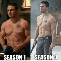 Memes, Arrow, and 🤖: arrowmemes  SEASON 1SEASON 3 Handsome as always! @stephenamell ArrowMemes . . . oliverqueen teamarrow thearrow arrow greenarrow stephenamell dccomics thecw