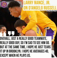 Larry Nance Jr wants D'Angelo to average 40 points per game next season.  #BhartiyaMamba #WWLG4L: ARRY NANCE, JR  ON D'ANGELO RUSSEL  VIA HOOPS HYPE PODCAST  OVERALL, JUST A REALLY GOOD TEAMMATE,  REALLY GOOD GUY, SO I'M SAD TO SEE HIM GO.  BUT AT THE SAME TIME, I HOPE HE JUST TEARS  IT UP IN BROOKLYN. I HOPE HE AVERAGES 40,  EXCEPT WHEN HE PLAYS US Larry Nance Jr wants D'Angelo to average 40 points per game next season.  #BhartiyaMamba #WWLG4L