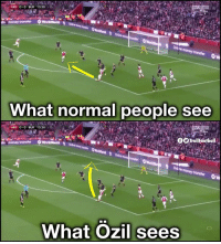 Ozil Vision 👀: ARS 0-0 BUR 13:26  money transfer  What normal people see  ARS 0 0 BUR 13:26  Trollootball  WorldRem  lin money  Online  What Ozil sees Ozil Vision 👀