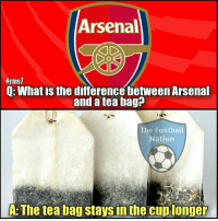 Arsenal, Memes, and 🤖: Arsenal  ffrms7  Q: What is the differencebetweenArsenal  and a tea bag?  The Football  Nation  A: The tea bag staysinthe cup longer 😂😂😂  Credits: The Football Nation