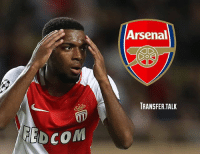 Arsenal, Memes, and Mirror: Arsenal  TRANSFER.TALK  EDCOM Arsenal will make a third bid for Monaco forward Thomas Lemar, according to the Daily Mirror. - The report suggests the Gunners have seen bids of £30m and £40m turned down, but Arsene Wenger is determined to get his man by going back with another improved bid. - And Wenger is reportedly convinced he can land the 21-year-old, who is thought to want to join Arsenal.