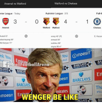 "Arsenal, Chelsea, and Memes: Arsenal vs Watford  Watford vs Chelsea  mier League Today  Full-tnier League 2/5  Full-t  3  0  4  Arsenal  Watford Watford  Chelsea  ustafi 8  ubameyang 59""  khitaryan 77  eney 42' (P)  inmaat 84  eulofeu 88  reyra 90+1  E. Hazar  sk  nk You  You  otball  OinDesiT  ref  rollFootballArena  rate  BA  PREM  YS  CLAYS  ER LEAGUE  BARCLAYS  BARCLAYS  Tha  #Yol  mirates  inpest  lelWENGER BE LIKEARS  ARCLAYS  BA WENGER IN"