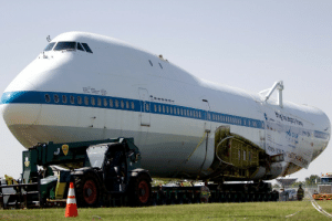 Journey, Nasa, and Target: arstechnica:  This de-winged 747 used to carry NASA shuttles. Now it's moving 3mph through Texas highway.