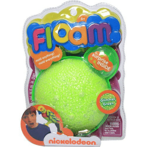 nostalgia-magazine:  Floam!: art  6+  FIO  mold anything!  mold everything!  surprise  INSIDE  Glimmer  Green  onforms to  ASTM D-4236  A WARNING:  CHOKING HAZARD-  Small Parts.  Nat for chidren  nder 1 years  nickelodeon.  KA6 Cu. in. (240 nostalgia-magazine:  Floam!