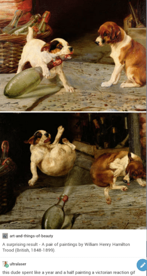Dude, Gif, and Paintings: art-and-things-of-beauty  A surprising result -A pair of paintings by William Henry Hamilton  Trood (British, 1848-1899)  ultralaser  this dude spent like a year and a half painting a victorian reaction gif Medieval Reaction Gif