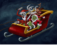 Memes, Zero, and Deviantart: art C brianna garci  1  bri-chan devantau t.com That moment when your friend is driving like a maniac and you're holding on for dear life! 😆 (via briannacherrygarcia.deviantart.com) thegrinch jackskellington zero max christmas santa