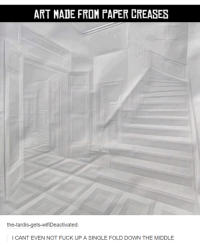 the tardis: ART MADE FROM PAPER CREASES  the-tardis-gets-wifiDeactivated  I CANT EVEN NOT FUCK UP A SINGLE FOLD DOWN THE MIDDLE