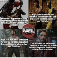 """Follow @marvelousfacts they post some cool facts you won't see on other accounts @marvelousfacts: Art Tom elez  Hugh Jackman wore his full  Wolverine costume at Comic-Con  Wolverine's biggest fear isliving and nobody noticed because he  onger than  he lovesand  was """"too tall.""""  cares for, with onlyDeadpoolfor  mpany  MAR  VELOU  FACTS  Hugh Jackman holds the record  for playing the same superhero  Chris Pratt said the first draftof  most times a live-action """"Guardians of the Galaxy Vol.2' made  film franchise.  him cry.lt helped himcome to terms  with the death of his father. Follow @marvelousfacts they post some cool facts you won't see on other accounts @marvelousfacts"""