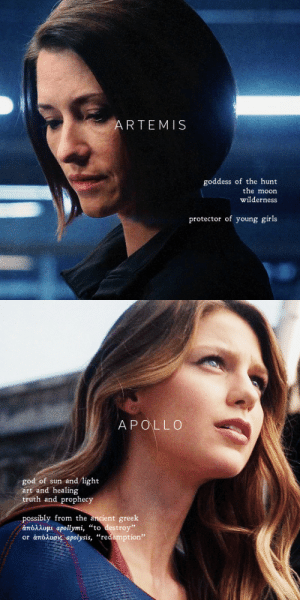 "cylon:    the danvers sisters as artemis and apollo here's to the danvers sisters—we should come with a warning. : ARTEMIS  goddess of the hunt  the moon  wilderness  protector of young girls   APOLLCO  god of sun and light  art and healing  truth and prophecy  possibly from the ancient greek  άπόλλομι apollymi, ""to destroy  or άπόλυσις apolysis, ""redemption"" cylon:    the danvers sisters as artemis and apollo here's to the danvers sisters—we should come with a warning."