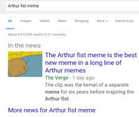 me irl: Arthur fist meme  All Images  Videos  News  Shopping More Search tools  About 4,570,000 results (0.31 seconds)  In the news  The Arthur fist meme is the best  new meme in a long line of  Arthur memes  The Verge  1 day ago  The clip was the kernel of a separate  meme for six years before inspiring the  Arthur fist.  More news for Arthur fist meme me irl