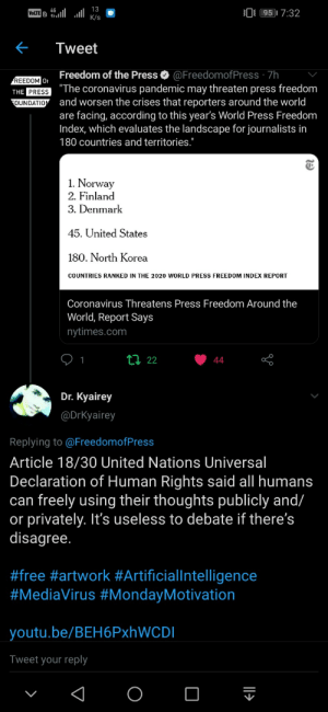 Article 18/30 United Nations Universal Declaration of Human Rights said all humans can freely using their thoughts publicly and/or privately. It's useless to debate if there's disagree.  #free #artwork #ArtificialIntelligence #MediaVirus #MondayMotivation: Article 18/30 United Nations Universal Declaration of Human Rights said all humans can freely using their thoughts publicly and/or privately. It's useless to debate if there's disagree.  #free #artwork #ArtificialIntelligence #MediaVirus #MondayMotivation
