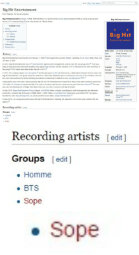"music producer: Article Talk  Read Edit View history Search Wikipedia  Big Hit Entertainment  From Wikipedia, the free encyclopedia  Big Hit Entertainment (Hangul: 빅히트 엔터테인먼트), is a South Korean record label founded in 2005 by music producer and  former JYP composer Bang Si-hyuk, also known as ""Hitman Bang""  Big Hit Entertainment  Contents hide]  1 History  2 Recording artists  2.1 Groups  2.2 Soloists  3 Former artists  Entertainment  3.1 Notable former trainees  4 References  5 External links  Native name  Type  Industry  Genre  (주) 빅히트 엔터테인 먼트  Private Company  Music & Entertainment  History [edit]  Big Hit Entertainment was founded on February 1, 2005,[3 and signed the vocal trio 8Eight, consisting of Lee Hyun, Baek Chan, and  Joo Hee, in 2007  In 2010, Big Hit Entertainment and JYP Entertainment signed a joint management contract over the boy group 2AM.141 That year  Bang Si-hyuk launched nationwide auditions and signed Rap Monster, the first member of BTS, followed by the other members of  the group.[5 BTS made their debut under Big Hit in 2013.1  In 2012, the company signed Lim Jeong-hee,[1 and the girl group GLAM was formed as a collaboration between Source Music and Headquarters Seoul Gangnam-gu  Big Hit entertainment. The group was active until 2014, when they disbanded due to controversy over one of the members, Kim Da  hee, who was sentenced to prison following accusations of blackmail in relation to actor Lee Byung-hun.[8I9110]  Following the end of the joint contract between Big Hit and JYP Entertainment in April 2014, three of the 2AM members returned to  JYP, while Lee Chang-min stayed with Big Hit in order to continue with his solo career and as part of the duo Homme.41 The year  also saw the disbandment of 8Eight after Baek Chan and Joo Hee's contracts with Big Hit ended  In May 2015, Signal Entertainment Group (Signal), a KOSDAQ-listed company specializing in artist management and television  production, acquired Big Hit through a KR 6 billion (~US$5 million) convertible bond. Signal also owns Better ENT, the agency  founded by actor Song Seung-heon, as well as another record label, Jungle Entertainment.n  agency.T  In May 2015, Lim Jeong-hee parted ways with Big Hit Entertainment, following the expiration of her three-year contract with the  K-Pop  Dance  R&B  Hip-Hop  February 1,2005  Founded  Founder  Bang Si-hyuk  Nonhyeon-dong, 135-010, 10-  31 Cheong-gu Bldg, 2F,  South Korea  Music & Entertainment  Products  Services  Owner  Music, Entertainment  Signal Entertainment Group  Bang Si-hyuk  26  Number of  employees  Parent  Signal Entertainment  GrouplI2]  http://www.ibighit.com:@  Website  Recording artists [edit]  Groups edit]  . Homme  BTS  sope   Recording artists [edit ]  Groups [edit ]  . Homme  BTS  . Sope   . Sope"