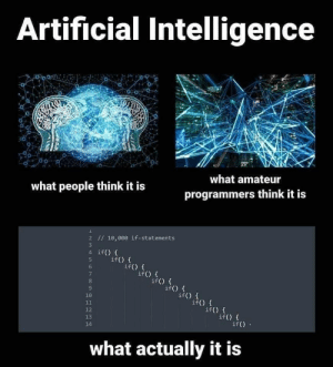 Be Like, Artificial, and Artificial Intelligence: Artificial Intelligence  what amateur  programmers think it is  what people think it is  2 10,000 if-statements  4 ifO  if() {  if() t  if) (  ifo f  10  if() {  if)  12  13  14  if() f  if)  what actually it is Artificial intelligence be like