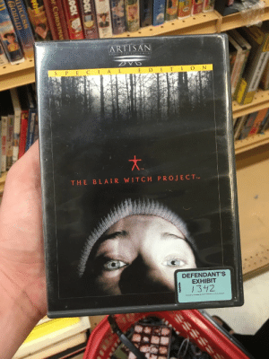 Lol, Target, and Tumblr: ARTISAN  S P EC A L  THE BLAIR WITCH PROJECTTM  DEFENDANT'S  EXHIBIT  342 mariopowertennis:I guess this copy of The Blair Witch Project was used as evidence in court at some point (???) it's double haunted now