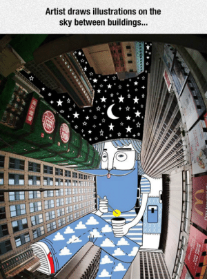 Tumblr, Blog, and Http: Artist draws illustrations on the  sky between buildings srsfunny:Imagining New Skies