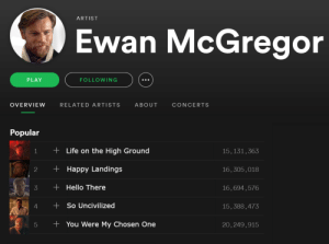 Hello, Life, and Spotify: ARTIST  Ewan McGregor  PLAY  FOLLOWING  OVERVIEW RELATED ARTISTS ABOUT CONCERTS  Popular  1 +Life on the High Ground  2 Happy Landings  3 +Hello There  15,131,363  16,305,018  16,694,576  15,388,473  20,249,915  4 So Uncivilized  5 +You Were My Chosen One We can get Ewan to #1 on this sub, but can we get him to #1 artist on Spotify?