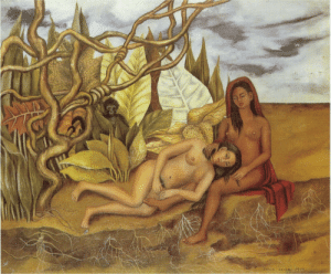 Nudes, Tumblr, and Blog: artist-frida:  Two Nudes in the Forest (The Earth Itself), Frida Kahlo Medium: oil,metalhttps://www.wikiart.org/en/frida-kahlo/two-nudes-in-the-forest-the-earth-itself-1939
