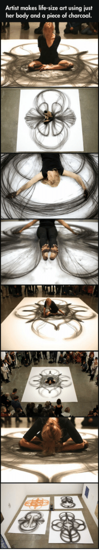 Life, Tumblr, and Blog: Artist makes life-size art using just  her body and a piece of charcoal.  98 srsfunny:  Using Her Body And A Piece Of Charcoal