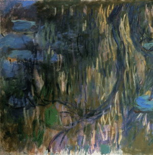 Tumblr, Blog, and Http: artist-monet:Water Lilies, Reflections of Weeping Willows (left half) via Claude Monet