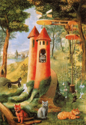 artist-varo: Cats Paradise, 1955, Remedios Varo Medium: oil,masonite : artist-varo: Cats Paradise, 1955, Remedios Varo Medium: oil,masonite