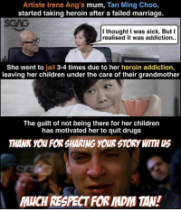 Didn't know that there was such a moving story <click on link in bio> behind Irene Ang and her mother… Makes me realise how scary drug addiction can be! sgagsalutes sp: Artiste Irene Ang's mum, Tan Ming Choo,  started taking heroin after a failed marriage.  SCAG  l thought I was sick. But I  realised it was addiction.  She went to jail 3-4 times due to her heroin addiction,  leaving her children under the care of their grandmother  The guilt of not being there for her children  has motivated her to quit drugs  THANK YOU FOR SHARING YOUR STORY WITH S  MUCH RESPECT FOR MDM TAN! Didn't know that there was such a moving story <click on link in bio> behind Irene Ang and her mother… Makes me realise how scary drug addiction can be! sgagsalutes sp