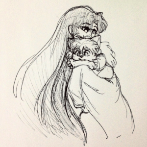 artistefish:  Baby Inuyasha teething on a bone because apparently that could have happened historically and also I imagine it was Myoga's idea.: artistefish:  Baby Inuyasha teething on a bone because apparently that could have happened historically and also I imagine it was Myoga's idea.
