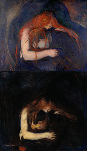 artisticinsight:Two versions of Love and Pain, often called Vampire due to the composition, from a series of six created between 1893-95, by Edvard Munch (1863-1944).: artisticinsight:Two versions of Love and Pain, often called Vampire due to the composition, from a series of six created between 1893-95, by Edvard Munch (1863-1944).
