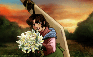 artofalynn: You ever think about that episode where Kohaku gave Sango flowers and she was so, so happy?? Laughing and frolicking about? A simple and innocent joy in the chaotic life she had of fighting demons?? When she still had her family and village and was none the wiser to what was to come? Me too /weeps  I've always admired Sango for being able to be an absolute badass who also embraced her femininity. I think her character gives a great message, that way. She was tough as nails, went through hell and back but she also enjoyed flowers and walked around in a  pink kimono, had a kitty sidekick, loved her little brother to pieces, and even fell in love. She was kind but took no shit. What an absolute legend. Made her look a wee bit younger here since it was an episode that took place in what seemed like some of her early slaying days. Poor thing went through so much soon after ahhhhhhhhh : artofalynn.tumblr.com artofalynn: You ever think about that episode where Kohaku gave Sango flowers and she was so, so happy?? Laughing and frolicking about? A simple and innocent joy in the chaotic life she had of fighting demons?? When she still had her family and village and was none the wiser to what was to come? Me too /weeps  I've always admired Sango for being able to be an absolute badass who also embraced her femininity. I think her character gives a great message, that way. She was tough as nails, went through hell and back but she also enjoyed flowers and walked around in a  pink kimono, had a kitty sidekick, loved her little brother to pieces, and even fell in love. She was kind but took no shit. What an absolute legend. Made her look a wee bit younger here since it was an episode that took place in what seemed like some of her early slaying days. Poor thing went through so much soon after ahhhhhhhhh