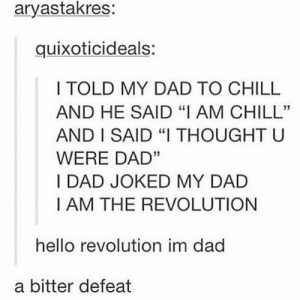 "Meirl: aryastakres:  quixoticideals:  I TOLD MY DAD TO CHILL  AND HE SAID ""I AM CHILL""  AND I SAID ""I THOUGHT U  WERE DAD""  I DAD JOKED MY DAD  I AM THE REVOLUTION  hello revolution im dad  a bitter defeat Meirl"