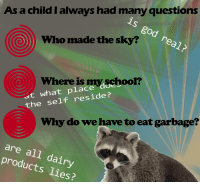 God, Garbage, and Who: As a child I always had many questions  is god real?  Who made the sky?  at what place doeloo  the self reside?  Where is  myschool?  Why do we have to eat garbage?  are all dairy  products lies?