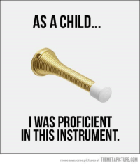 Memes, Awesome Pictures, and 🤖: AS A CHILD  I WAS PROFICIENT  IN THIS INSTRUMENT  more awesome pictures at THEMETAPICTURE.COM
