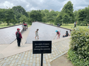 Climbing, Respect, and She: As a mark of respect,  please refrain from  climbing this memorial. She gets it