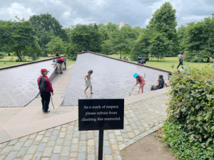 Climbing, Facepalm, and Respect: As a mark of respect,  please refrain from  climbing this memorial. If only they could read
