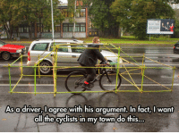 Space, A Matter, and Personal: As adriver,I agree with his arqument, In fact. I want  dl the cyclists in my town do this <p>A Matter Of Personal Space.</p>