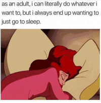 Dank, Go to Sleep, and Sleep: as an adult, i can literally do whatever i  want to, but i always end up wanting to  just go to sleep. Too many choices, sleep is always the answer.