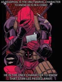 Memes, Stan, and Stan Lee: AS,DEADPOOL IS THE ONLY MARVEL CHARACTER  'A' TO KNOW HE IS IN A COMIC .  HE IS THE ONLY CHARACTER TO KNOW  THAT STAN LEE PASSED AWAY